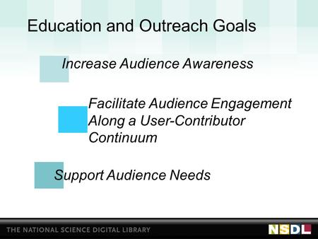Education and Outreach Goals Increase Audience Awareness Facilitate Audience Engagement Along a User-Contributor Continuum Support Audience Needs.