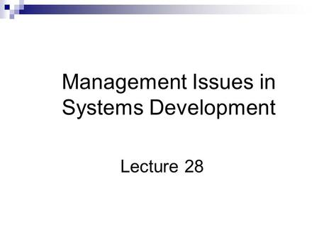 Management Issues in Systems Development Lecture 28.