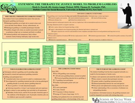 EXTENDING THE THERAPEUTIC JUSTICE MODEL TO PROBLEM GAMBLERS Mark G. Farrell, JD; Jessica Aungst Weitzel, MPH; Thomas H. Nochajski, PhD, Buffalo Center.