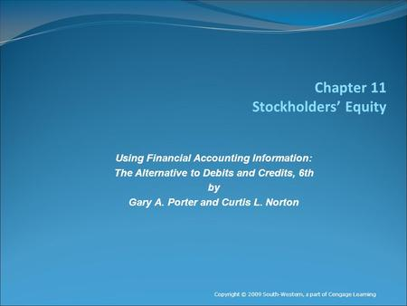 Chapter 11 Stockholders' Equity Using Financial Accounting Information: The Alternative to Debits and Credits, 6th by Gary A. Porter and Curtis L. Norton.