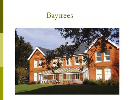 Baytrees. Who are we and what do we do?  Highly experienced team  Offer medically assisted detoxification from Alcohol and Drugs  In patient /