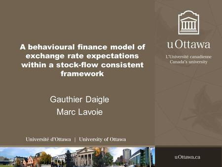 A behavioural finance model of exchange rate expectations within a stock-flow consistent framework Gauthier Daigle Marc Lavoie.