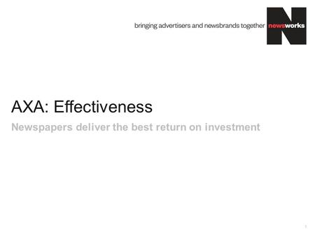 AXA: Effectiveness 1 Newspapers deliver the best return on investment.