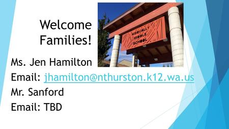 Welcome Families! Ms. Jen Hamilton   Mr. Sanford   TBD.
