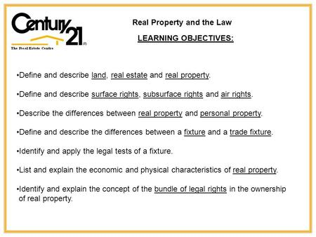 Real Property and the Law LEARNING OBJECTIVES: Define and describe land, real estate and real property. Define and describe surface rights, subsurface.