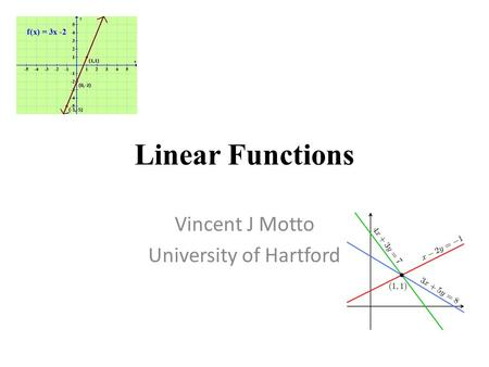 Linear Functions Vincent J Motto University of Hartford.