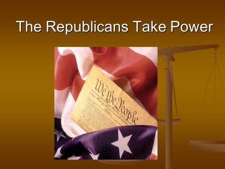 The Republicans Take Power. Election of 1800 Federalists John Adams V.P.- Charles Pinckney.