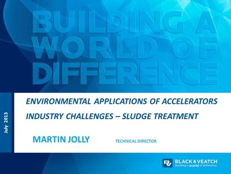 July 2013 TECHNICAL DIRECTOR ENVIRONMENTAL APPLICATIONS OF ACCELERATORS INDUSTRY CHALLENGES – SLUDGE TREATMENT MARTIN JOLLY.