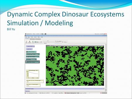 Purpose The purpose of my research project is to create a simulation of a many-species, non-static, many-variable ecosystem According to user preferences,