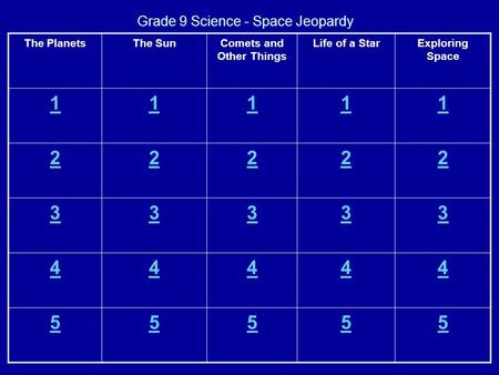 Grade 9 Science - Space Jeopardy The PlanetsThe SunComets and Other Things Life of a StarExploring Space 11111 22222 33333 44444 55555.
