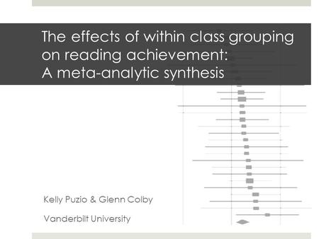 The effects of within class grouping on reading achievement: A meta-analytic synthesis Kelly Puzio & Glenn Colby Vanderbilt University.