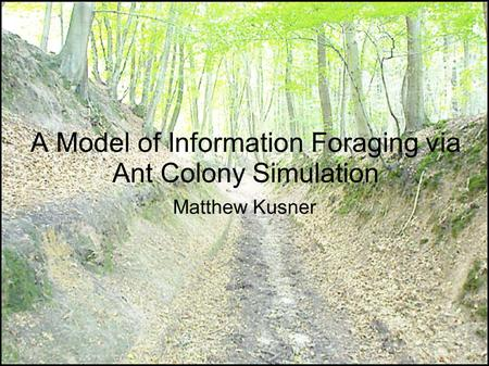 A Model of Information Foraging via Ant Colony Simulation Matthew Kusner.