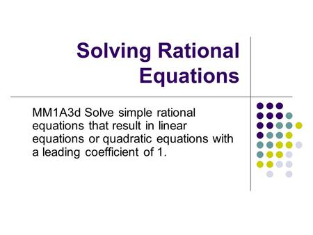 Rational equation solver