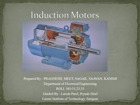 Induction Motors Prepared By : PRAGNESH, MEET, SAGAR, SAAVAN, KANISH