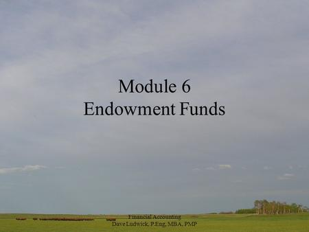 Financial Accounting Dave Ludwick, P.Eng, MBA, PMP Module 6 Endowment Funds.