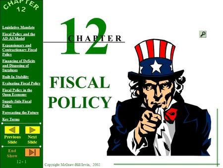 12 - 1 Copyright McGraw-Hill/Irwin, 2002 Legislative Mandate Fiscal Policy and the AD-AS Model Expansionary and Contractionary Fiscal Policy Financing.
