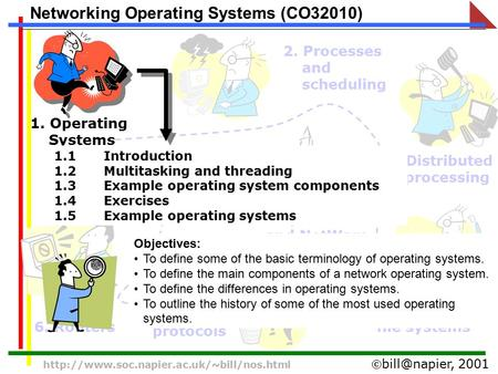 2001  Networking Operating Systems (CO32010) 1. Operating Systems 2. Processes and scheduling 3.