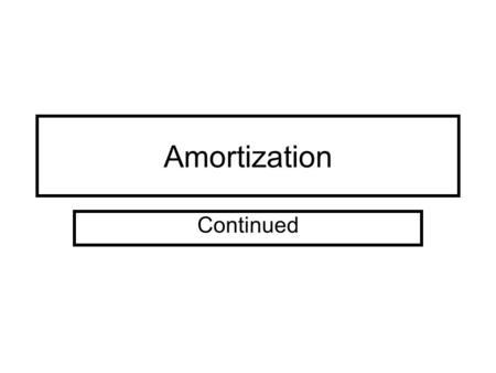 Amortization Continued. If annual amortization is inadequate or excessive, a change in the periodic amount should be made. When a change is made, 1. there.