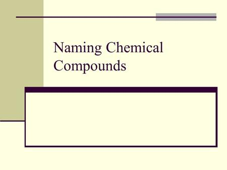 Naming Chemical Compounds. Naming Ions What are ions? Atom that has gained or lost electrons Cations? Atom that has lost electrons. (+ charge) Anions?