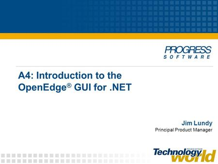 A4: Introduction to the OpenEdge ® GUI for.NET Jim Lundy Principal Product Manager.