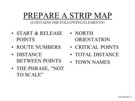 PREPARE A STRIP MAP (CONTAINS THE FOLLOWING ELEMENTS)