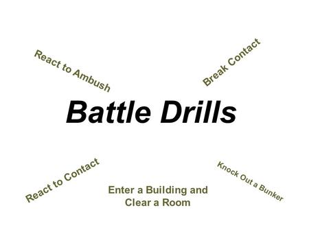 Click to edit Master title style Battle Drills React to Contact Knock Out a Bunker React to Ambush Break Contact Enter a Building and Clear a Room.