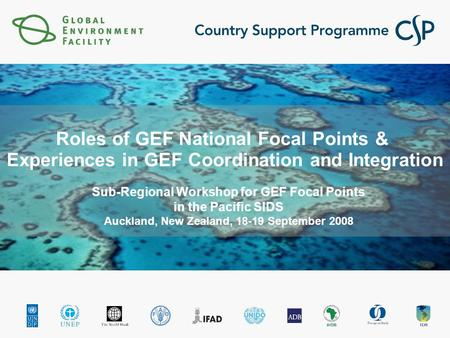 Roles of GEF National Focal Points & Experiences in GEF Coordination and Integration Sub-Regional Workshop for GEF Focal Points in the Pacific SIDS Auckland,