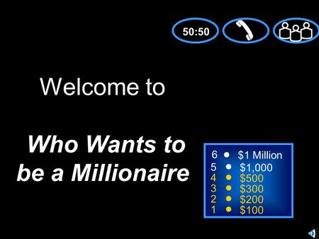 5 4 3 2 1 $1,000 $500 $300 $200 $100 Welcome to Who Wants to be a Millionaire 50:50 6 $1 Million.