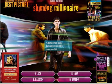 Q&A Who Wants to Be a Millionaire? In the opening scene, a title card is presented: Jamal Malik is one question away from winning 20 million rupees.