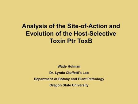 Analysis of the Site-of-Action and Evolution of the Host-Selective Toxin Ptr ToxB Wade Holman Dr. Lynda Ciuffetti's Lab Department of Botany and Plant.