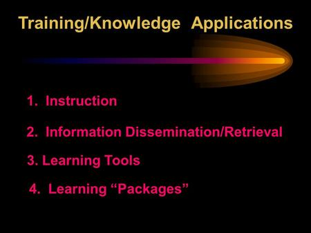 "Training/Knowledge Applications 1. Instruction 3. Learning Tools 2. Information Dissemination/Retrieval 4. Learning ""Packages"""