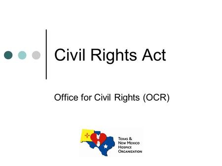 "Civil Rights Act Office for Civil Rights (OCR). What Laws Does OCR Enforce? ""No person shall on the ground of race, color or national origin, be denied."