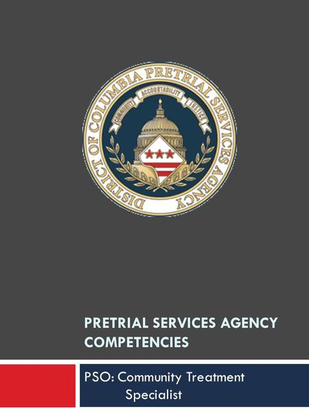 PRETRIAL SERVICES AGENCY COMPETENCIES PSO: Community Treatment Specialist.