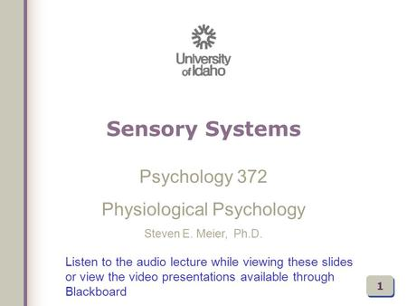 Listen to the audio lecture while viewing these slides or view the video presentations available through Blackboard Psychology 372 Physiological Psychology.