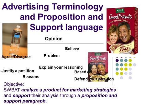 Advertising Terminology and Proposition and Support language Reasons Believe Explain your reasoning Opinion Problem Agree/Disagree Justify a position Based.