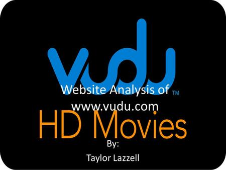 Website Analysis of www.vudu.com By: Taylor Lazzell.