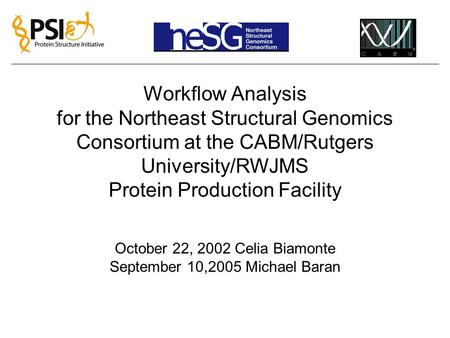 Workflow Analysis for the Northeast Structural Genomics Consortium at the CABM/Rutgers University/RWJMS Protein Production Facility October 22, 2002 Celia.