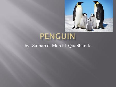 By: Zainab d. Merci l. QuaShan k.. A penguin eats fish.