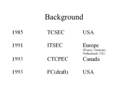 Background. History TCSEC Issues non-standard inflexible not scalable.