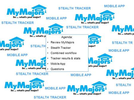 STEALTH TRACKER STEALTH TR STEALTH TRACKER Agenda: Review MyMajors Stealth Tracker Combined workflow Tracker results & stats Mobile App Questions MOBILE.