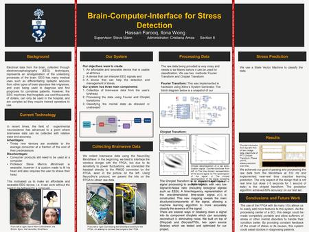 Brain-Computer-Interface for Stress Detection Hassan Farooq, Ilona Wong Supervisor: Steve Mann Administrator: Cristiana Amza Section 8 Collecting Brainwave.