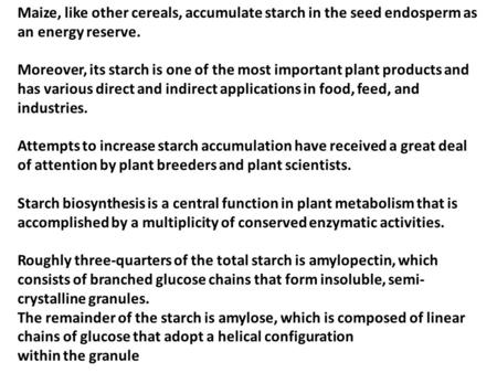 Maize, like other cereals, accumulate starch in the seed endosperm as an energy reserve. Moreover, its starch is one of the most important plant products.