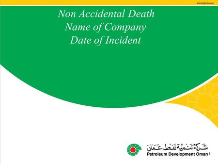 Main contractor name – LTI# - Date of incident 1 Non Accidental Death Name of Company Date of Incident 1.