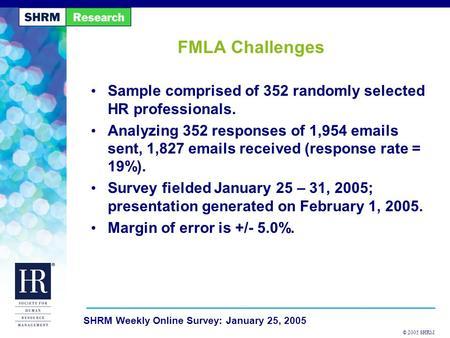 © 2005 SHRM SHRM Weekly Online Survey: January 25, 2005 FMLA Challenges Sample comprised of 352 randomly selected HR professionals. Analyzing 352 responses.