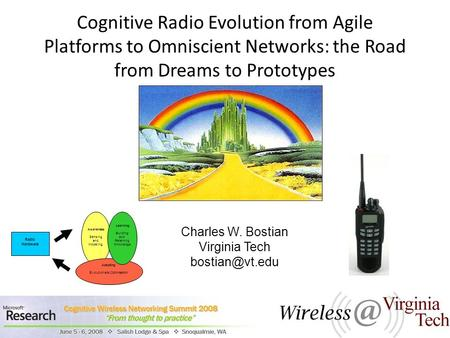 Cognitive Radio Evolution from Agile Platforms to Omniscient Networks: the Road from Dreams to Prototypes Charles W. Bostian Virginia Tech