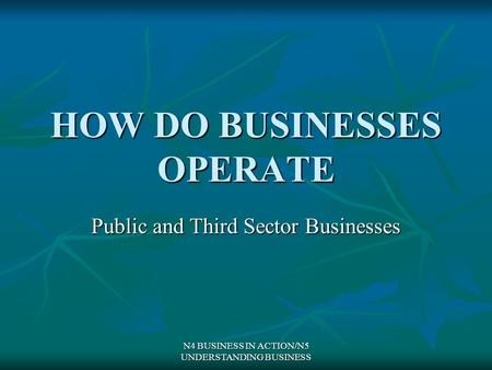 N4 BUSINESS IN ACTION/N5 UNDERSTANDING BUSINESS HOW DO BUSINESSES OPERATE Public and Third Sector Businesses.