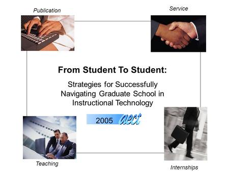 From Student To Student: Strategies for Successfully Navigating Graduate School in Instructional Technology Publication Service Teaching Internships 2005.