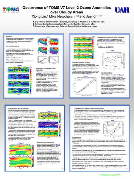 Occurrence of TOMS V7 Level-2 Ozone Anomalies over Cloudy Areas Xiong Liu, 1 Mike Newchurch, 1,2 and Jae Kim 1,3 1. Department of Atmospheric Science,