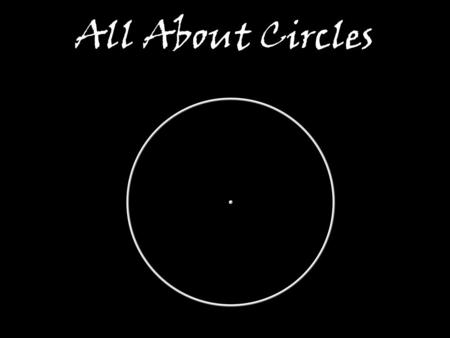 All About Circles Circles are everywhere! OP is the radius of the circle.