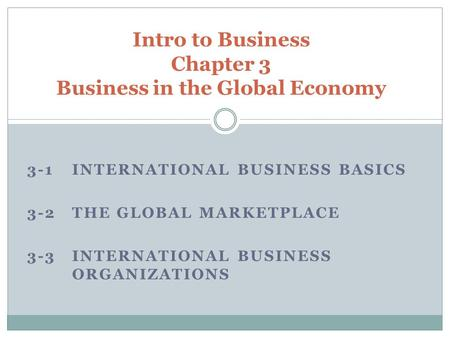 3-1 INTERNATIONAL BUSINESS BASICS 3-2 THE GLOBAL MARKETPLACE 3-3 INTERNATIONAL BUSINESS ORGANIZATIONS Intro to Business Chapter 3 Business in the Global.